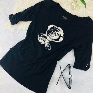 White House Black Market Flower Pullover Sweater